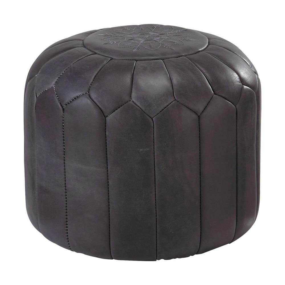 pouf marocain cuir gris marrakech maisons du monde. Black Bedroom Furniture Sets. Home Design Ideas