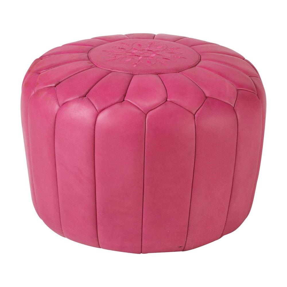 pouf marocain cuir rose marrakech maisons du monde. Black Bedroom Furniture Sets. Home Design Ideas