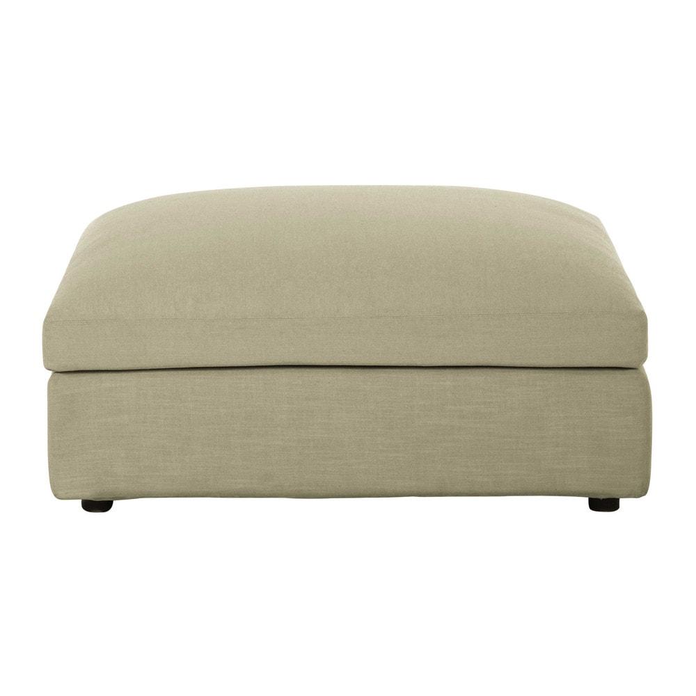 Pouf per divano beige grigio chiaro modulabile in tessuto - Pouf per divano ...