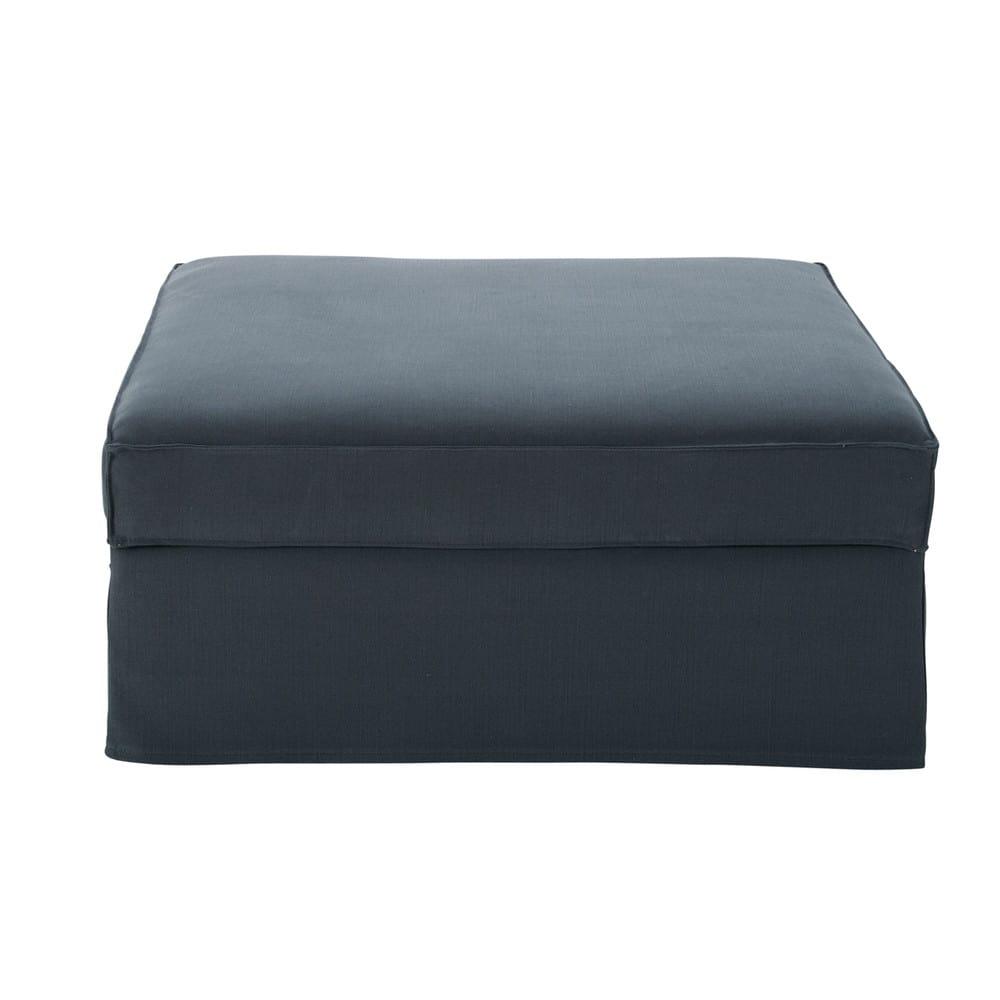 Pouf per divano grigio in cotone e lino enzo maisons du - Pouf per divano ...