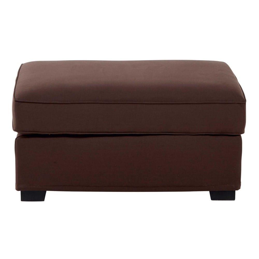 Pouf per il divano modulabile di cotone marrone cioccolato - Pouf per divano ...