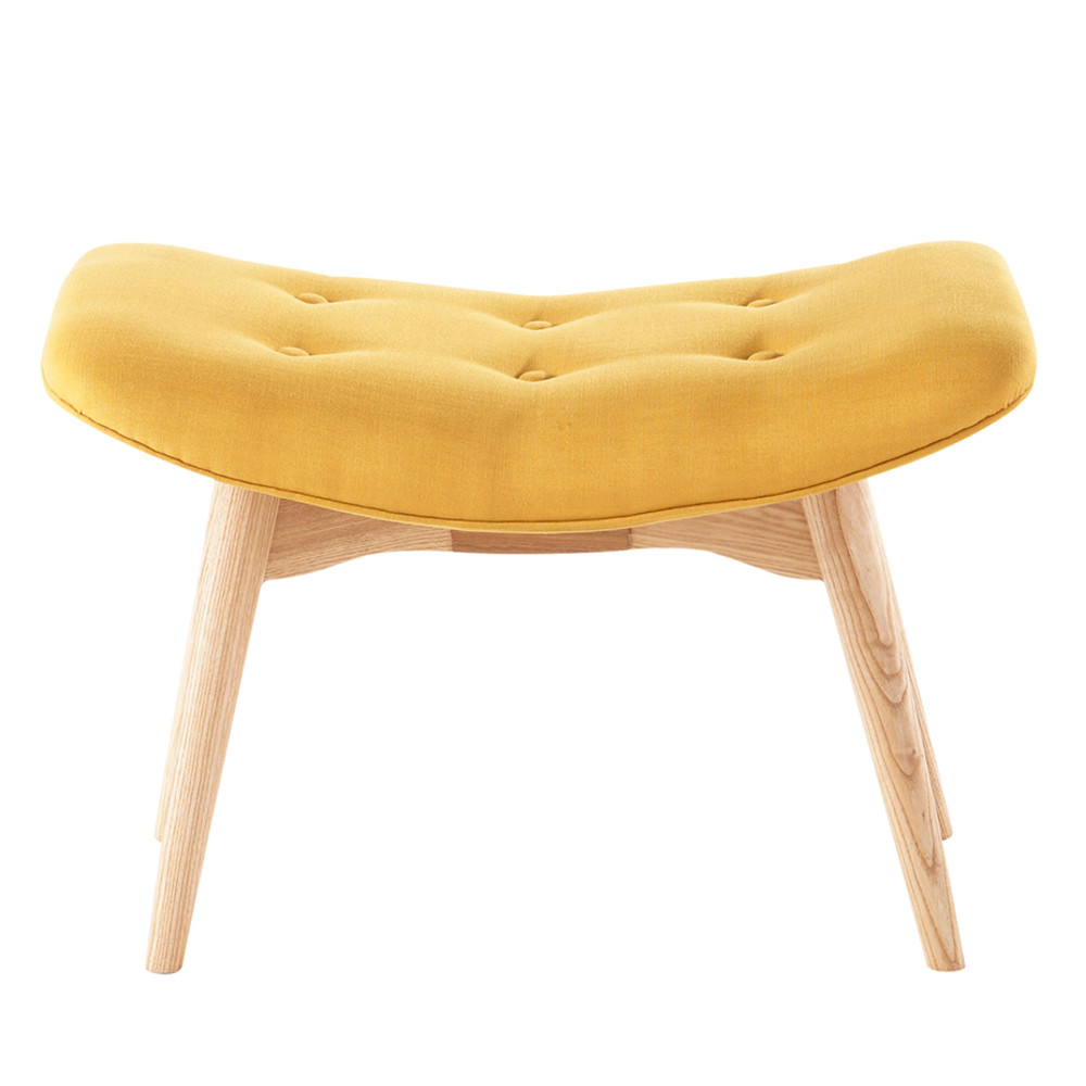 pouf repose pieds scandinave en tissu jaune iceberg. Black Bedroom Furniture Sets. Home Design Ideas