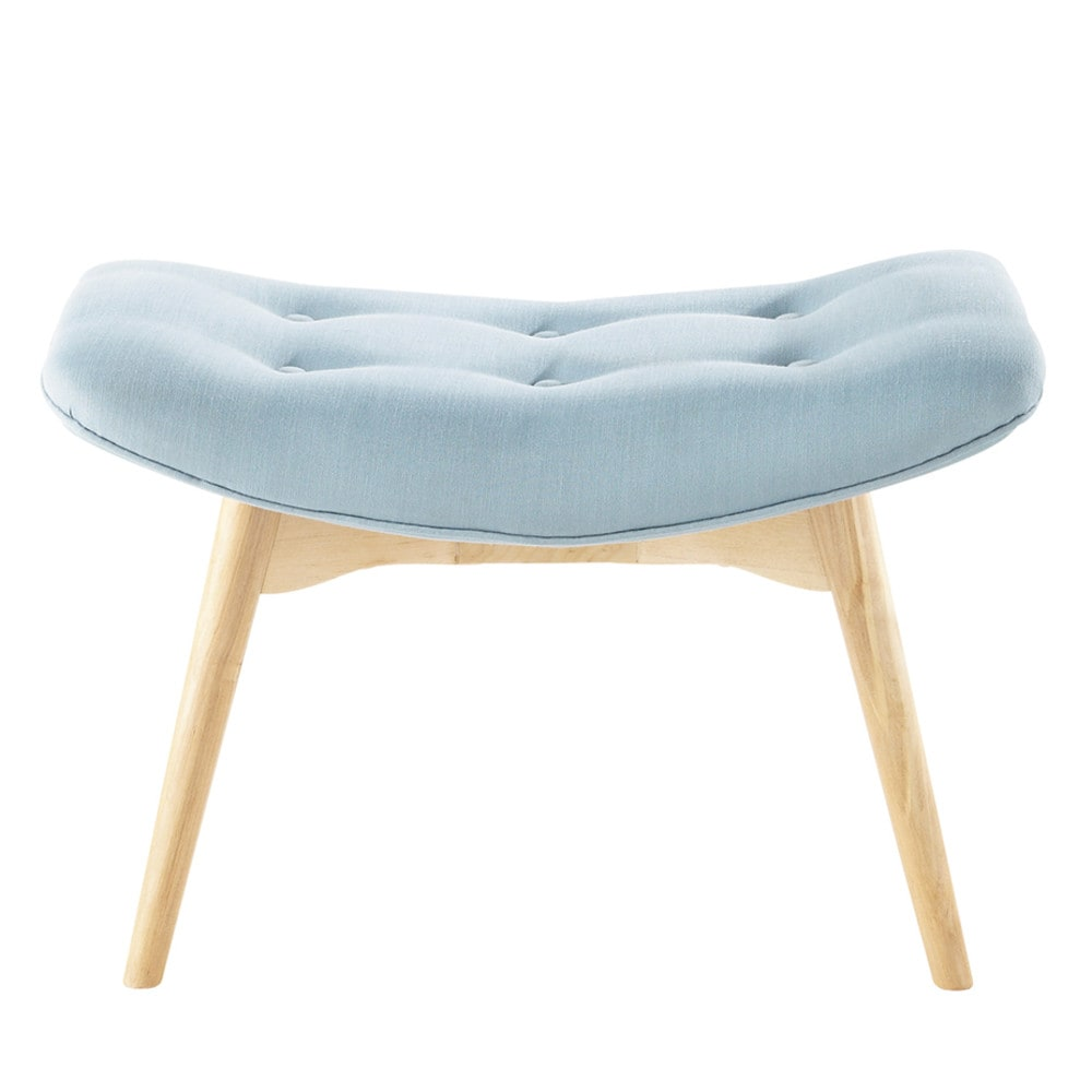 pouf repose pieds vintage en tissu bleu iceberg maisons du monde. Black Bedroom Furniture Sets. Home Design Ideas