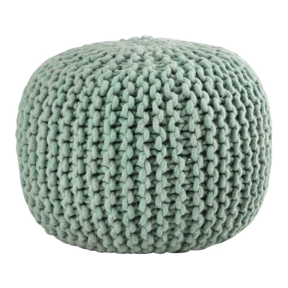 Pouf tress en laine verte sammy maisons du monde for Pouf argente maison du monde