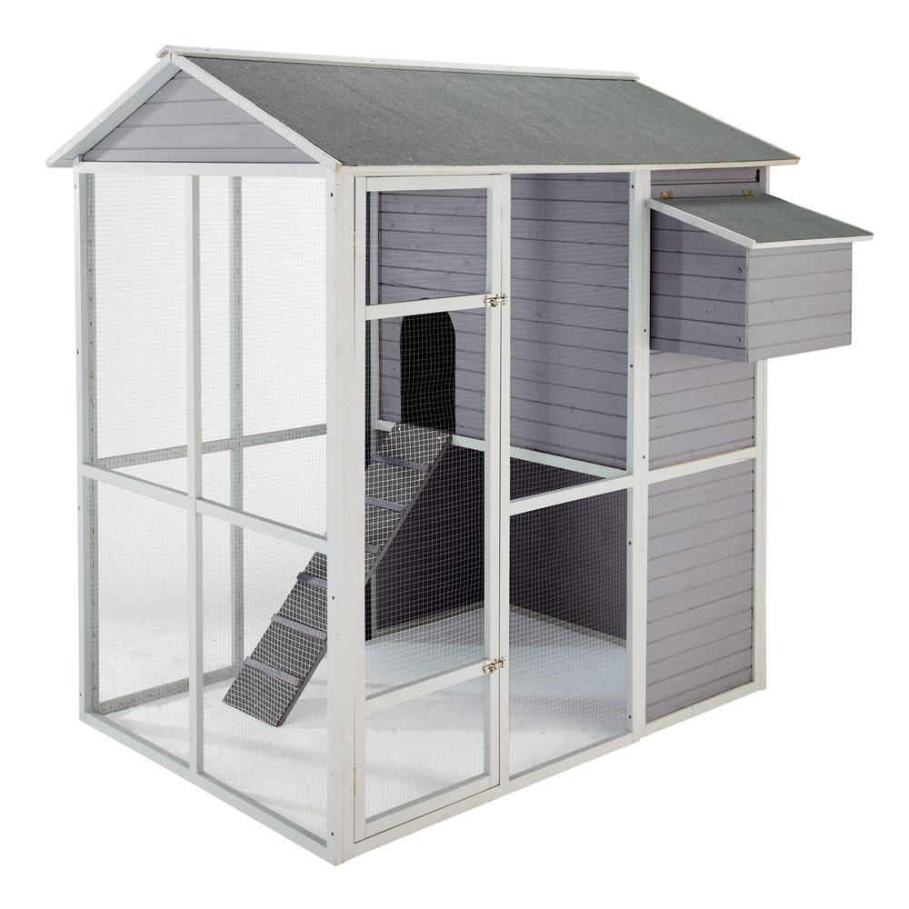 poulailler en bois gris h 175 cm cocotte maisons du monde