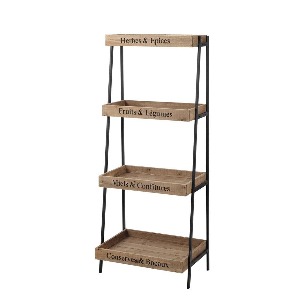 primeurs metal and wood shelf unit in black w 52cm. Black Bedroom Furniture Sets. Home Design Ideas