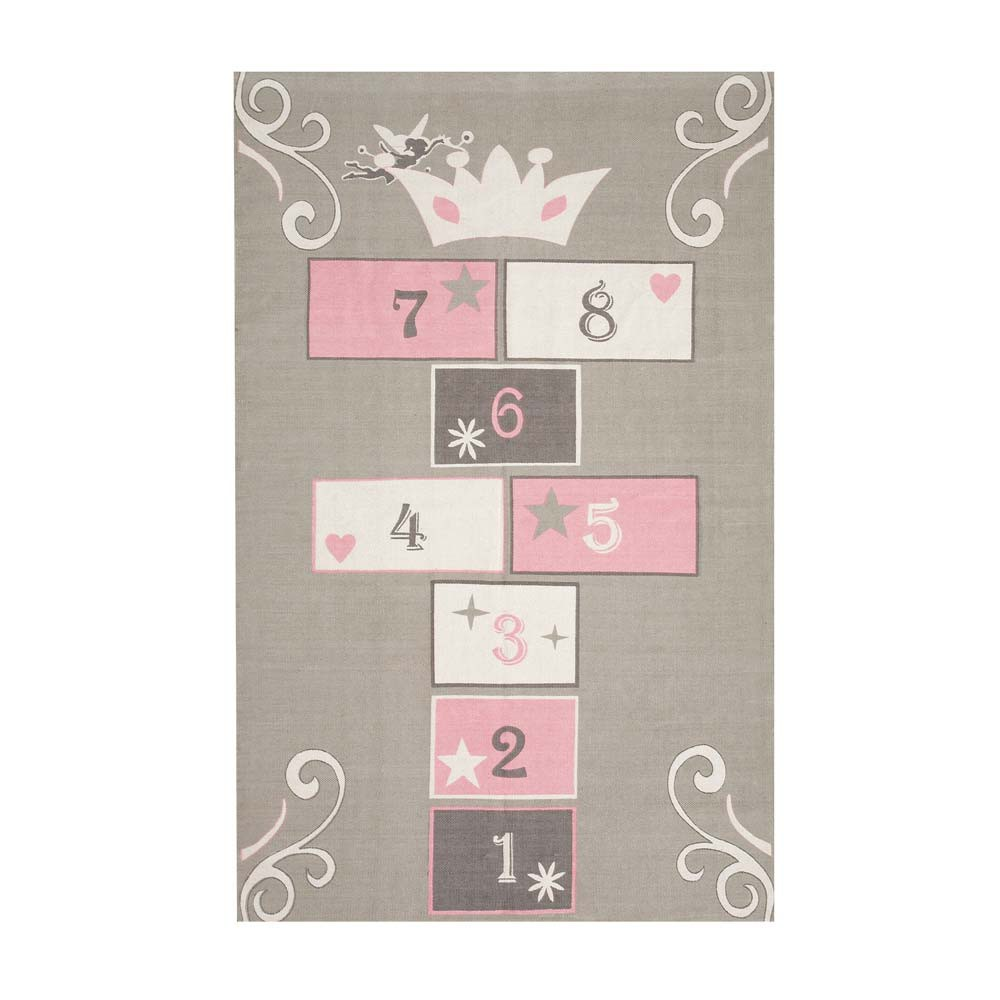 PRINCESSE Cotton Child's Hopscotch Mat In Grey / Pink 120