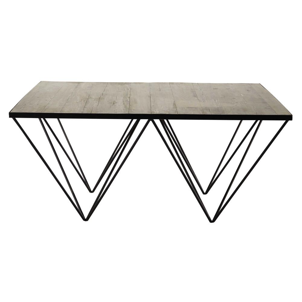 quadratischer couchtisch aus recyclingholz und metall b. Black Bedroom Furniture Sets. Home Design Ideas