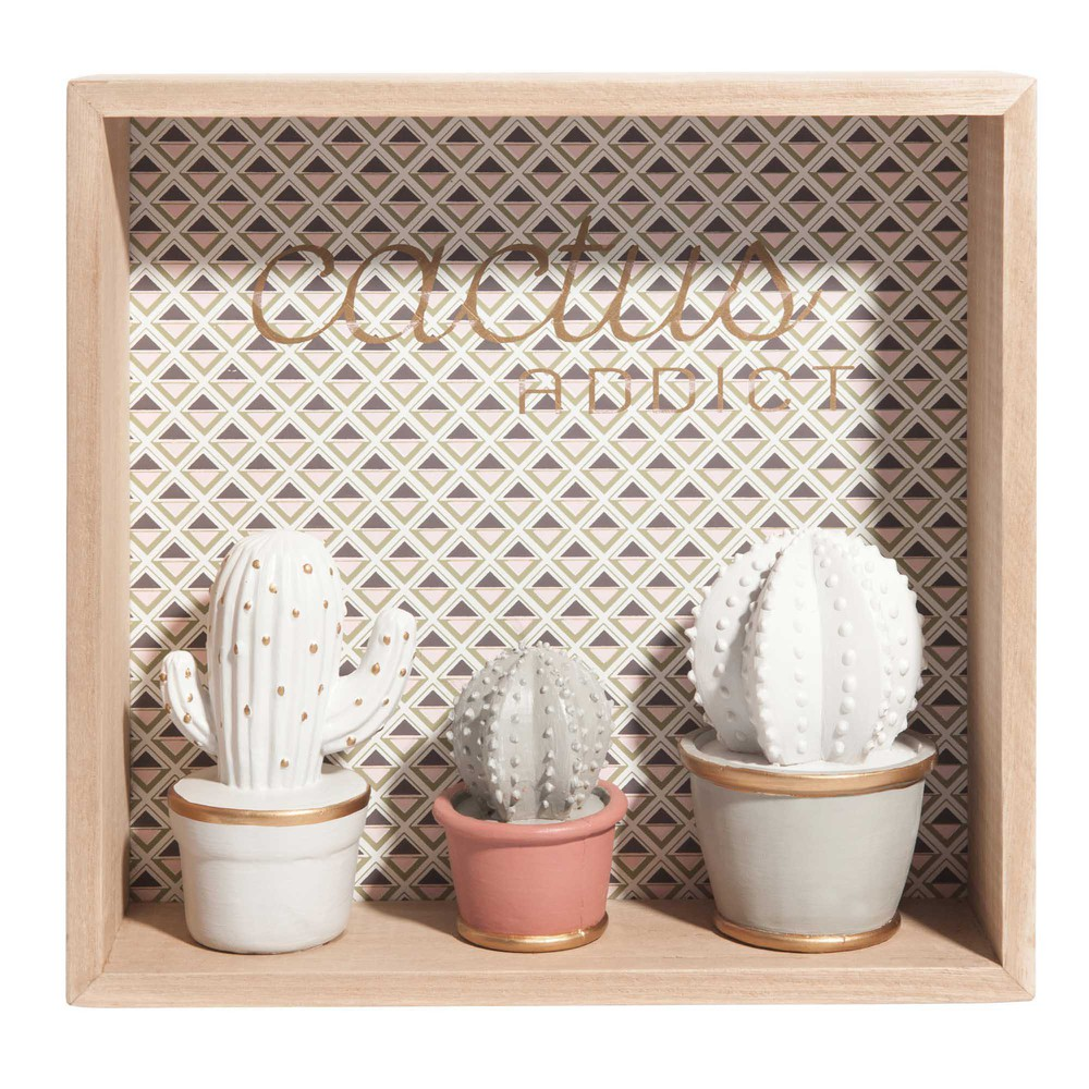 quadro 3 statuette a motivi triangolari 27x26 cm cactus addict maisons du monde. Black Bedroom Furniture Sets. Home Design Ideas