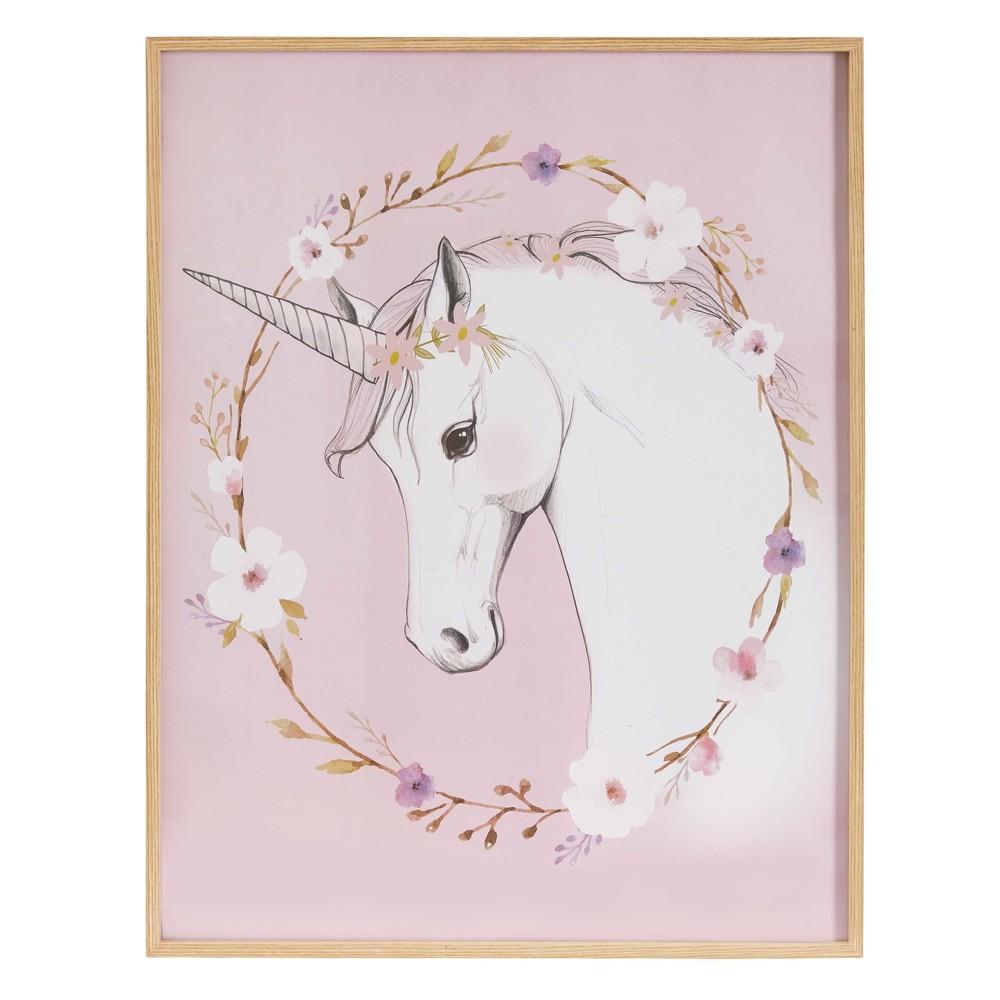 Quadro rosa con stampe unicorno 47x60cm maisons du monde for Decoration maison licorne
