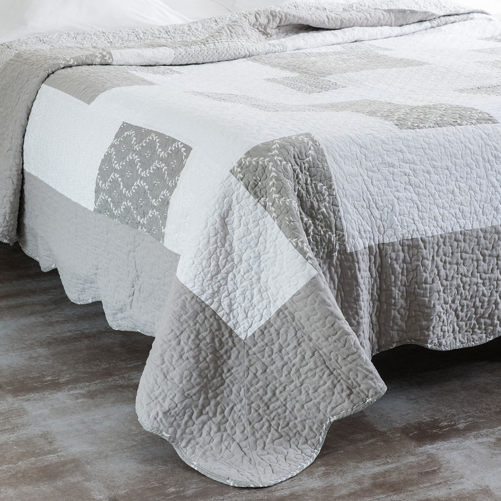 quilt 2 kissenbez geaus leinen 240 x 260 cm grau maisons du monde. Black Bedroom Furniture Sets. Home Design Ideas