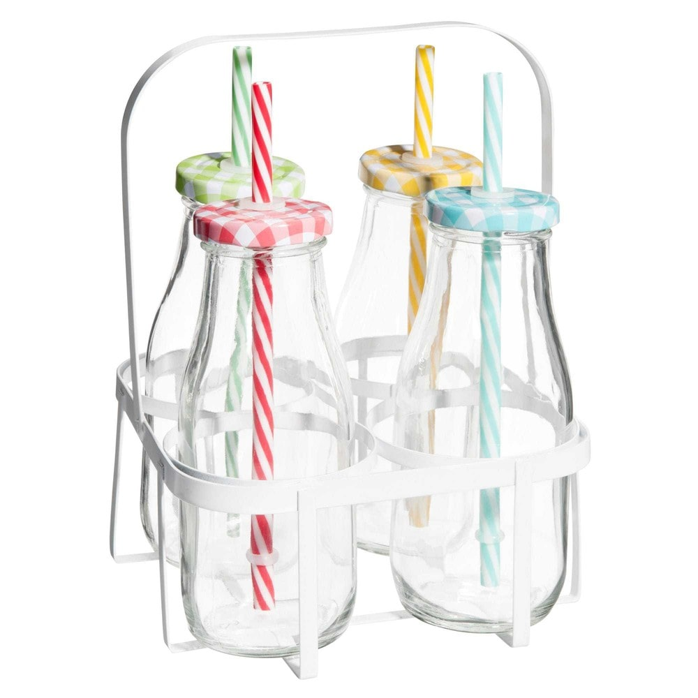 rack 4 petites bouteilles avec paille en verre multicolore vichy maisons du monde. Black Bedroom Furniture Sets. Home Design Ideas