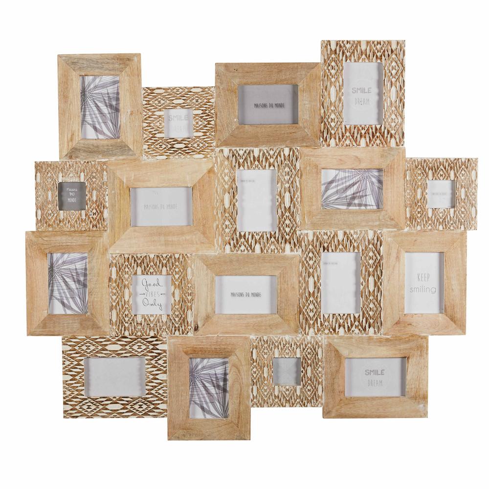 rahmen f r 18 fotos aus geschnitztem mangoholz in bleichoptik 103x91cm bora bora maisons du monde. Black Bedroom Furniture Sets. Home Design Ideas