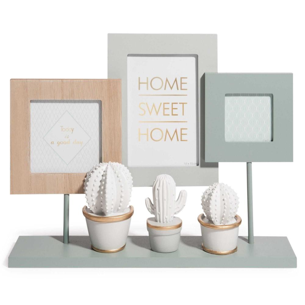 rahmen f r 3 fotos zum aufstellen holzimitation cactus. Black Bedroom Furniture Sets. Home Design Ideas