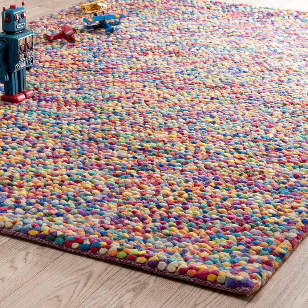 RAINBOW Woollen Rug Multicoloured 140 X 200cm Maisons