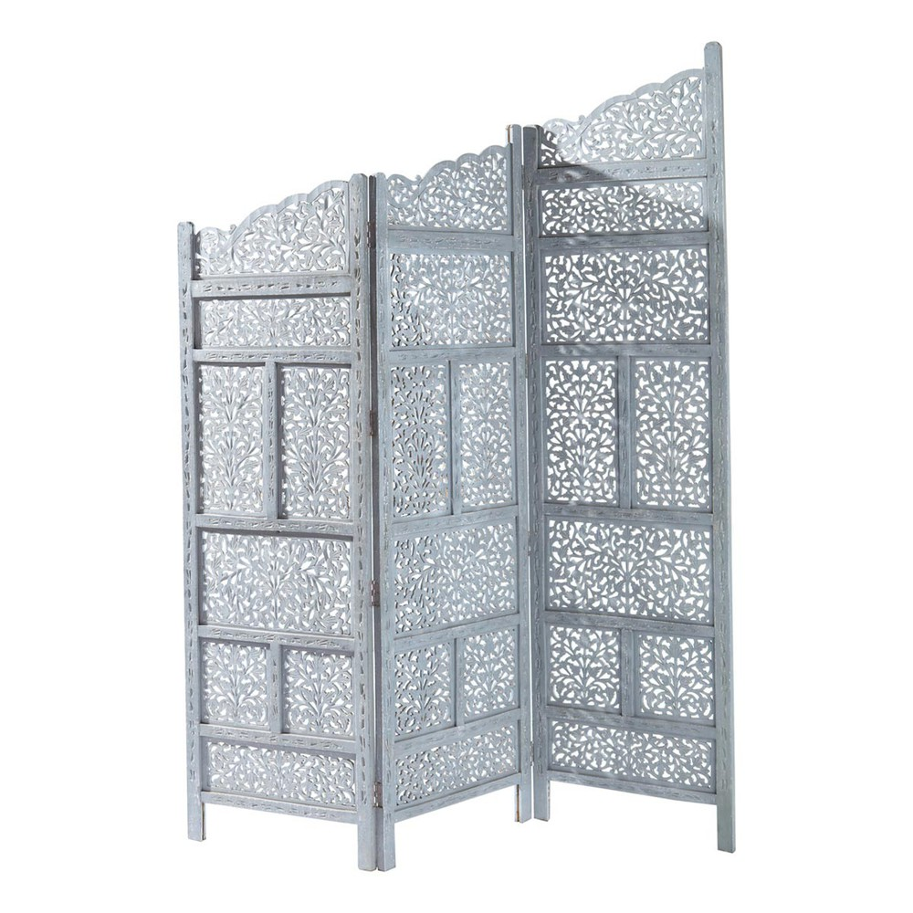 Rajasthan wooden folding screen in grey w 152cm maisons for Maison de monde uk