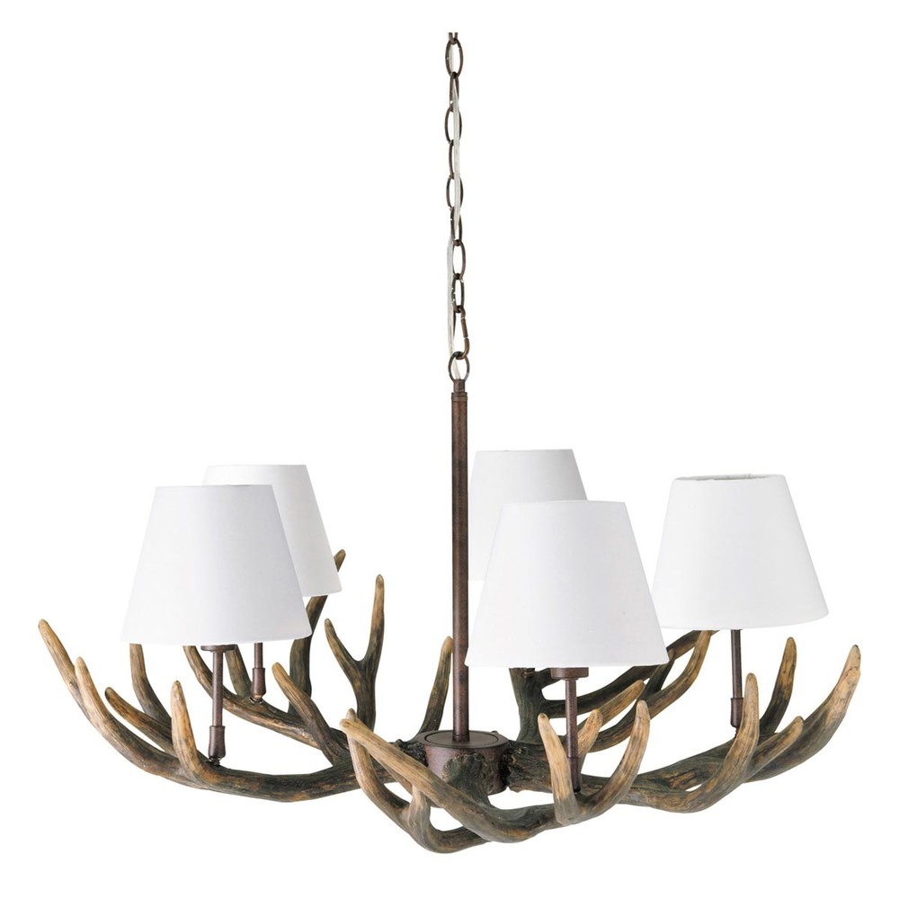 Ramure resin and cotton 5 branch chandelier in white d for Lampadari maison du monde