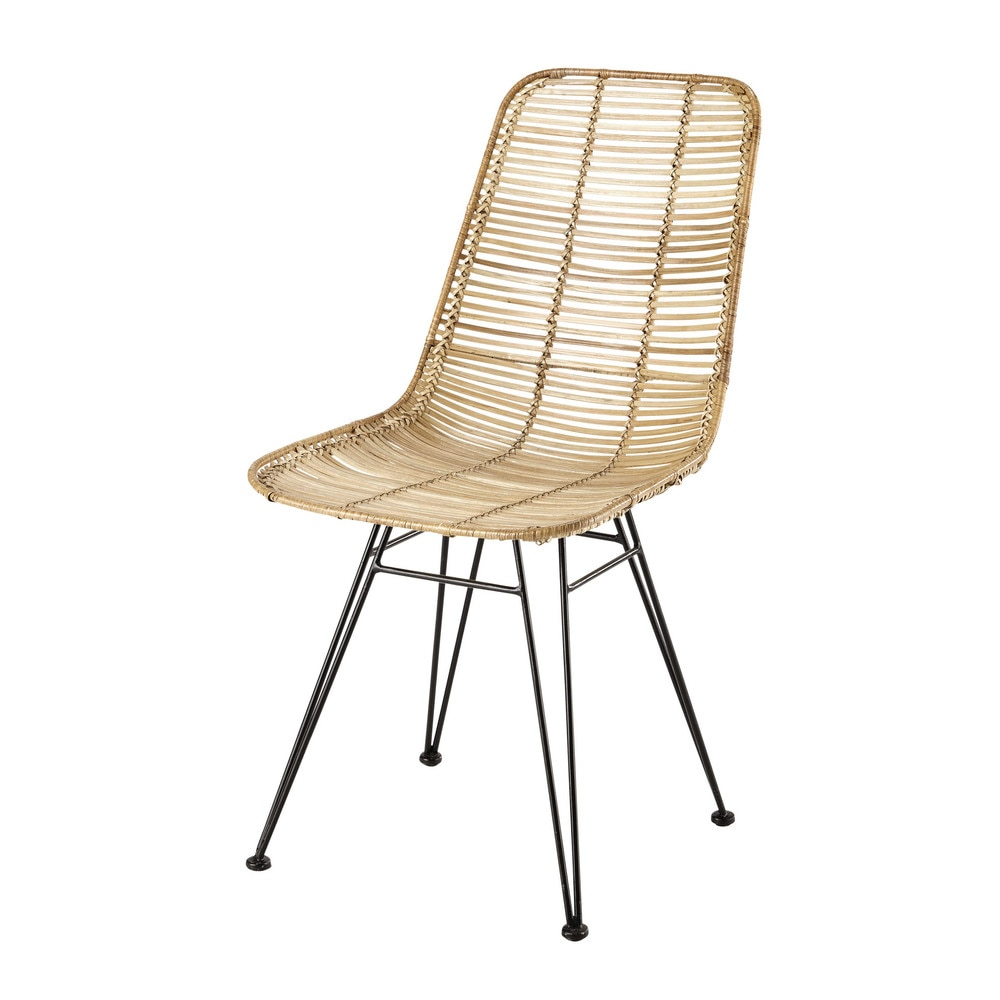 rattan and metal chair pitaya maisons du monde