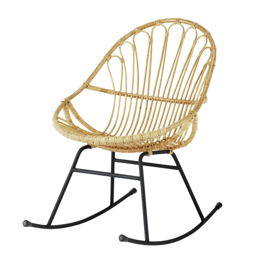 rattan rocking chair petunia maisons du monde. Black Bedroom Furniture Sets. Home Design Ideas