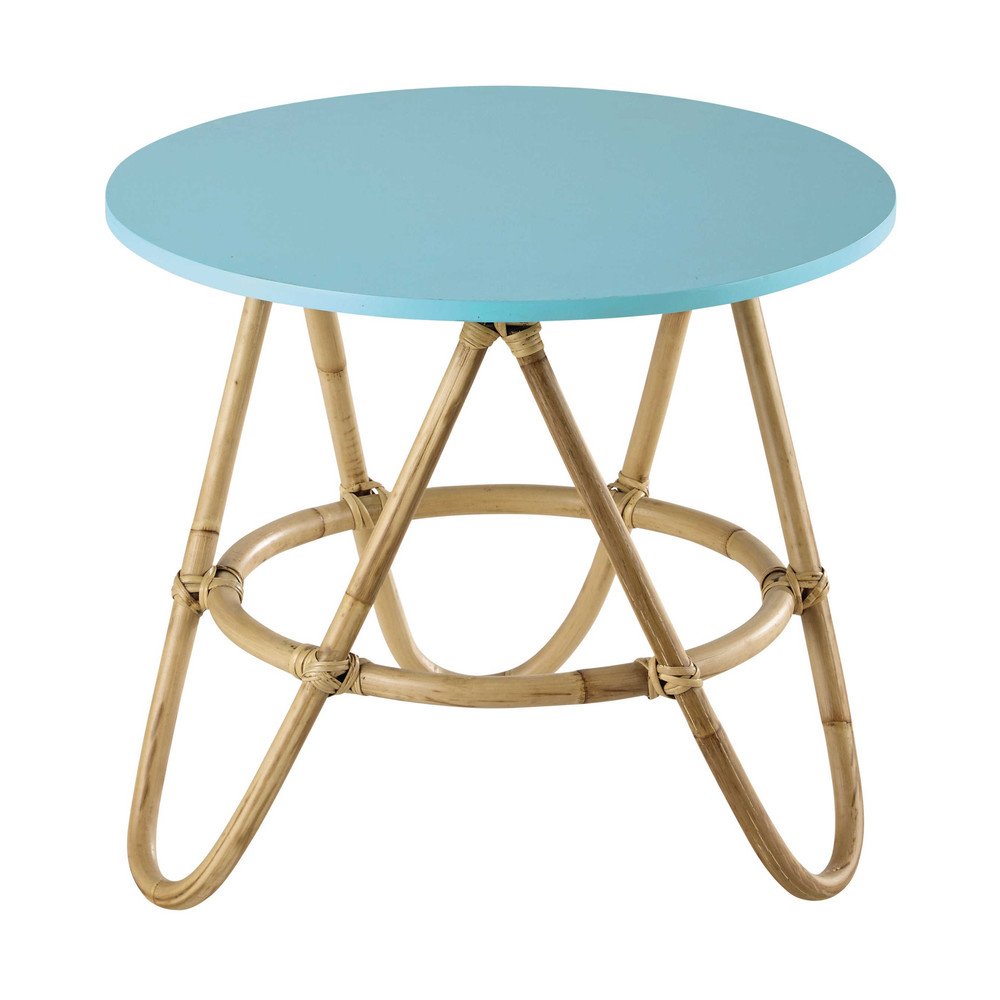 Rattan round coffee table in blue d 46cm aloha maisons - Table maison du monde ...