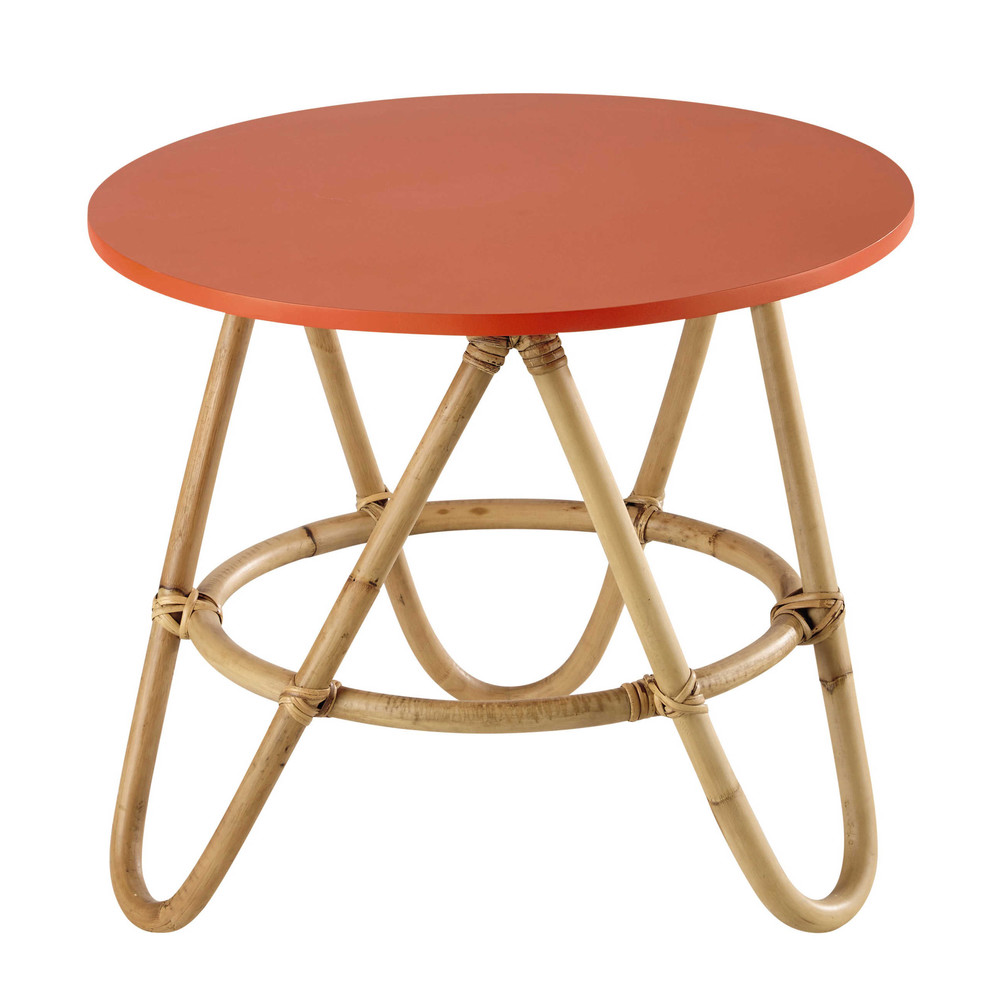 Rattan Round Coffee Table In Coral D 46cm Aloha Maisons Du Monde