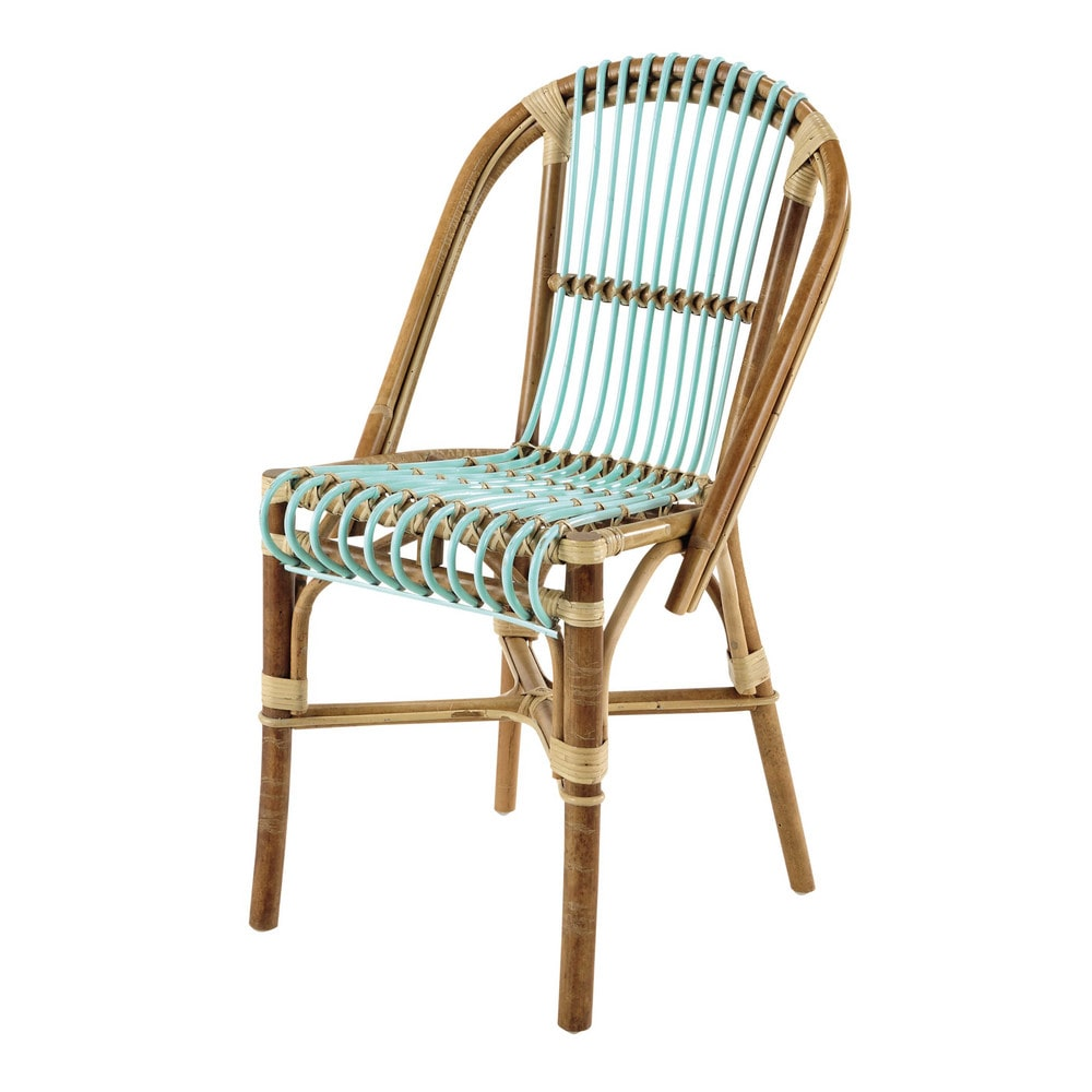 rattan vintage chair in sea green florida maisons du monde