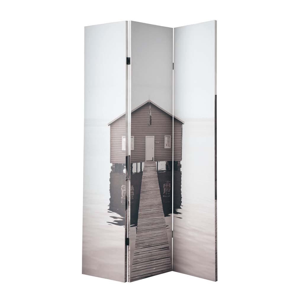 raumteiler sea side bedruckt aus holz b 120 cm maisons. Black Bedroom Furniture Sets. Home Design Ideas