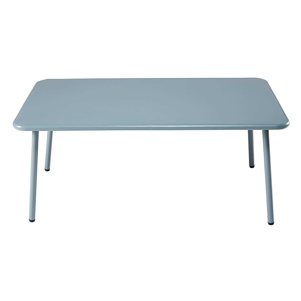 rectangular garden coffee table in light blue metal maldives maisons du monde. Black Bedroom Furniture Sets. Home Design Ideas