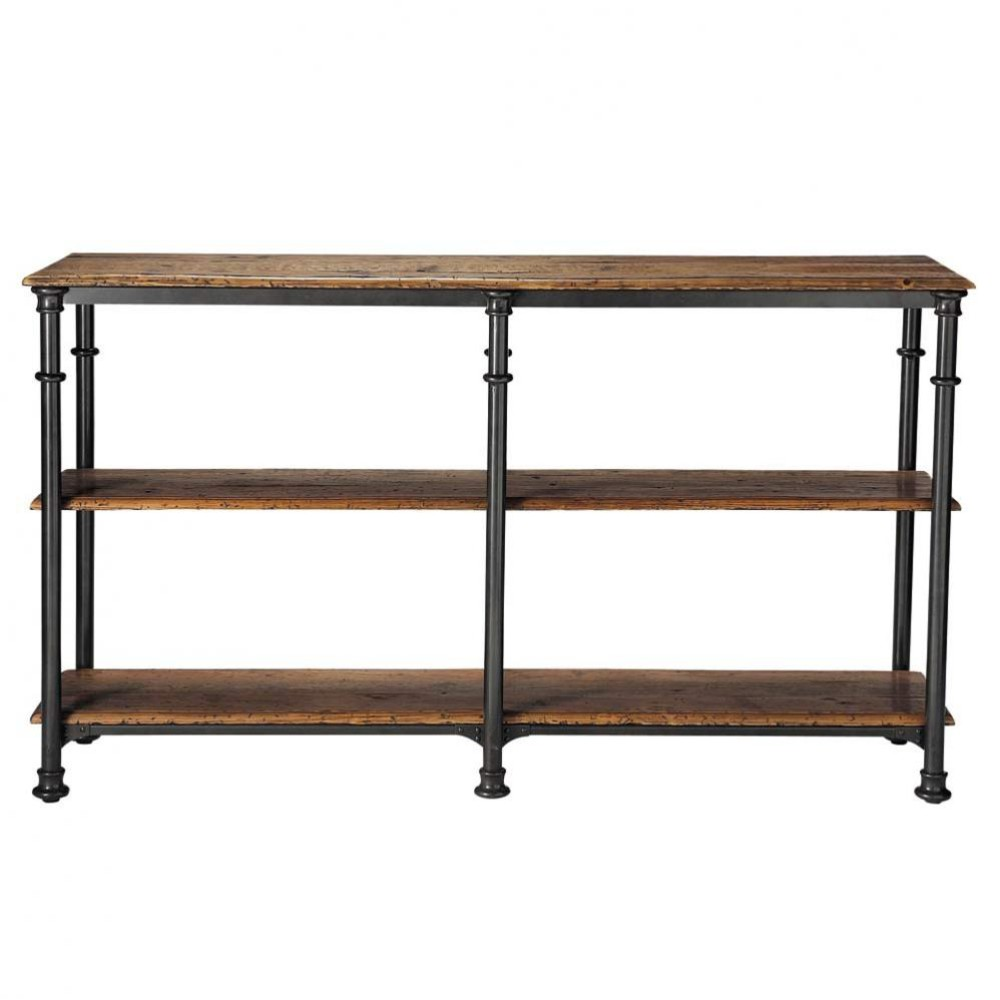 recycled solid mango wood and metal console table in black w cm