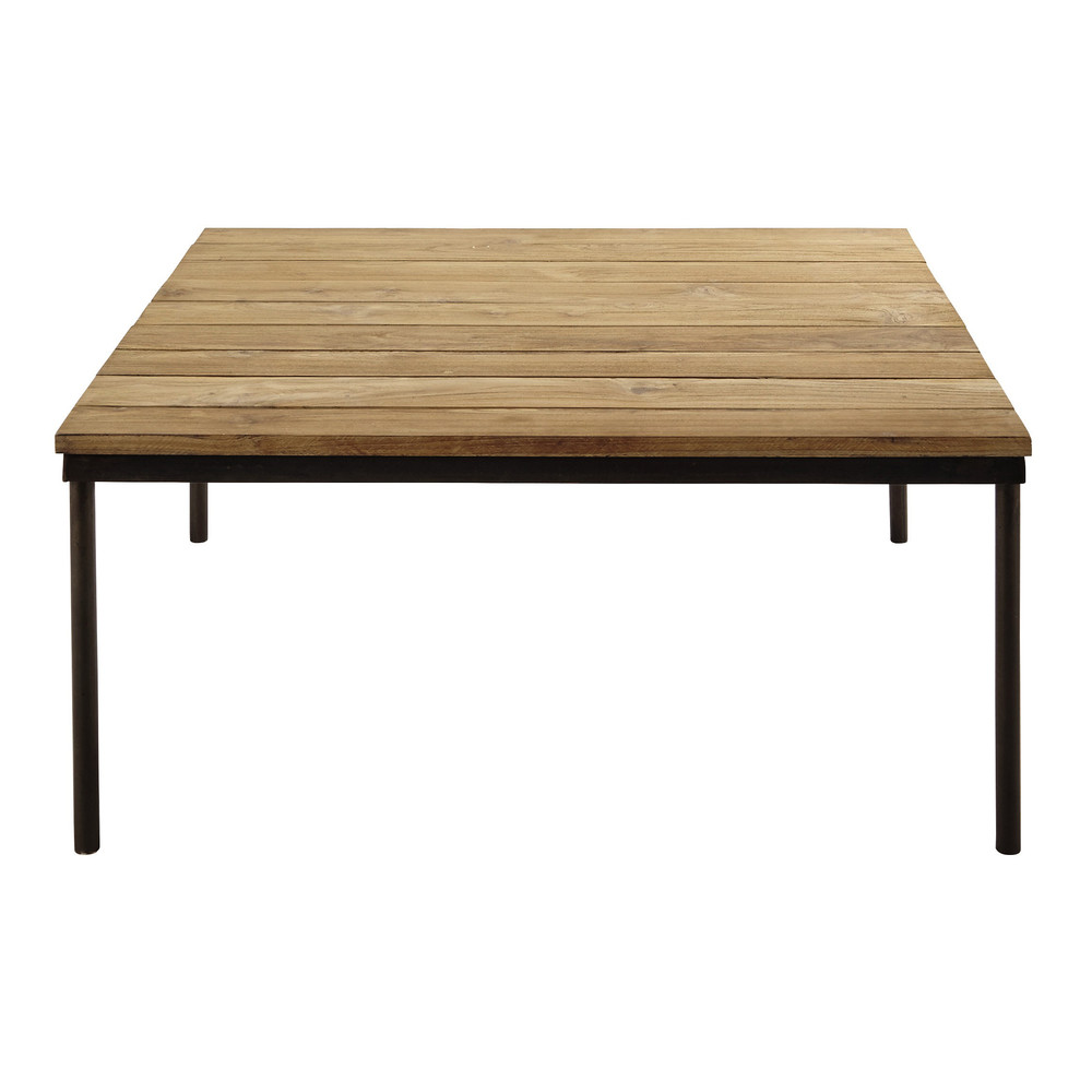 Recycled Teak And Metal Coffee Table W 100cm Louison Maisons Du Monde