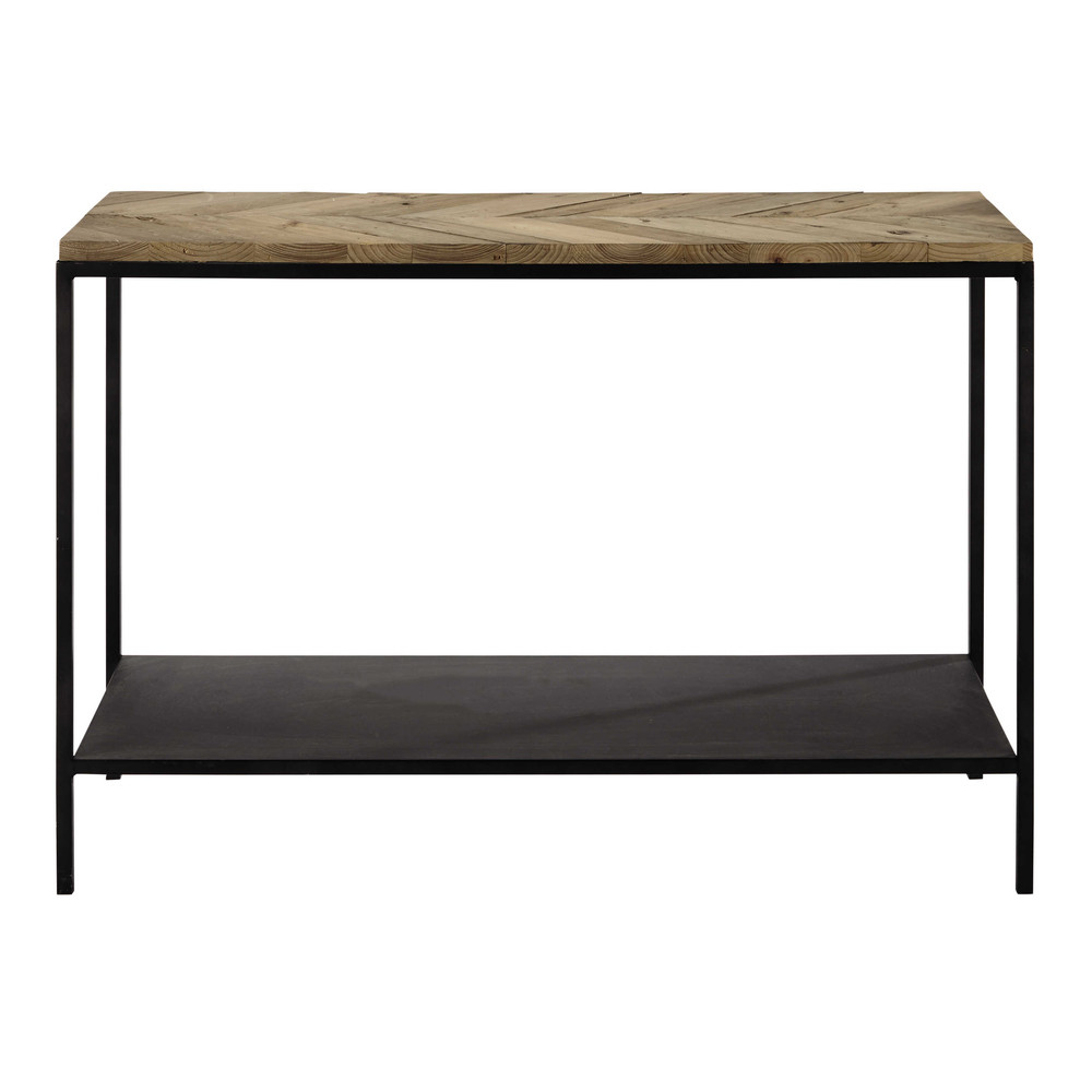 recycled wood and metal console table in black w 119cm chevron maisons du monde. Black Bedroom Furniture Sets. Home Design Ideas
