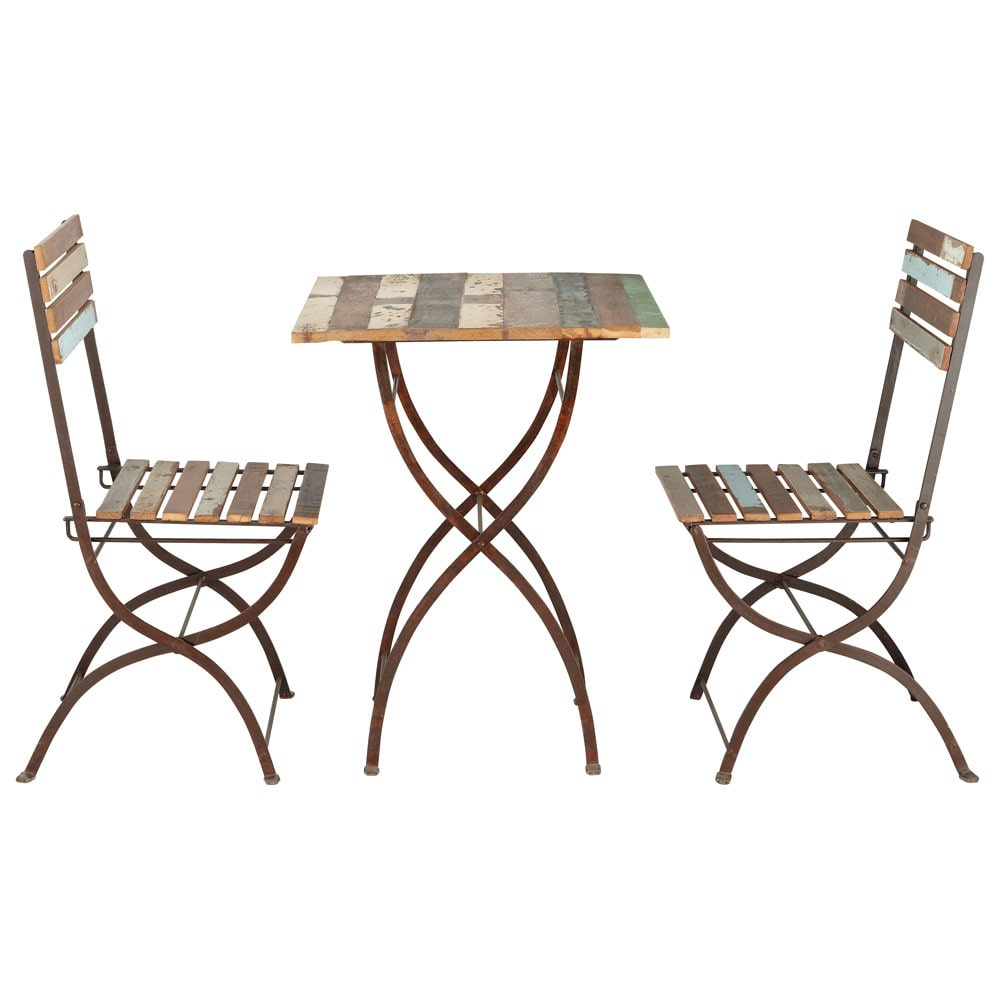 Recycled wood and metal garden table 2 chairs in for Table de bar et chaises