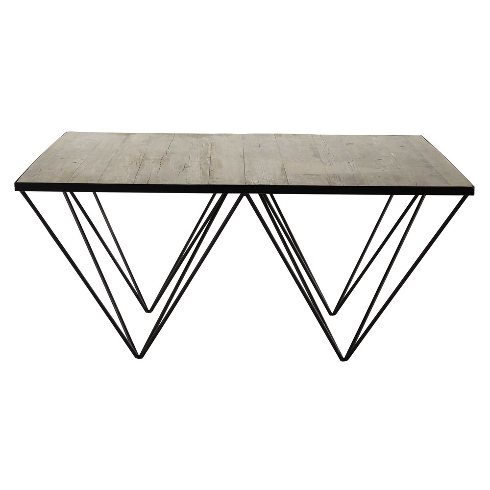 Recycled wood and metal square coffee table w 100cm diamond maisons du monde Metal square coffee table