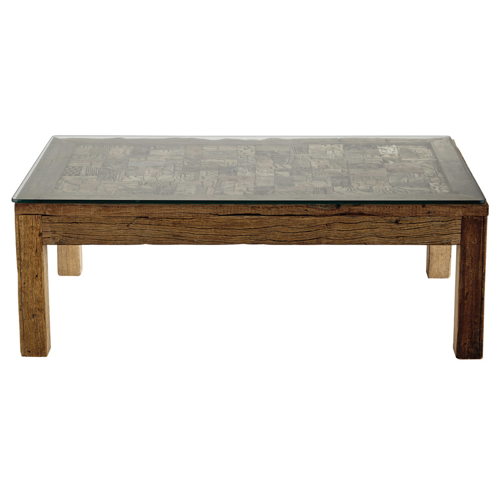 Recycled Wood And Tempered Glass Coffee Table W 120cm Batik Maisons Du Monde