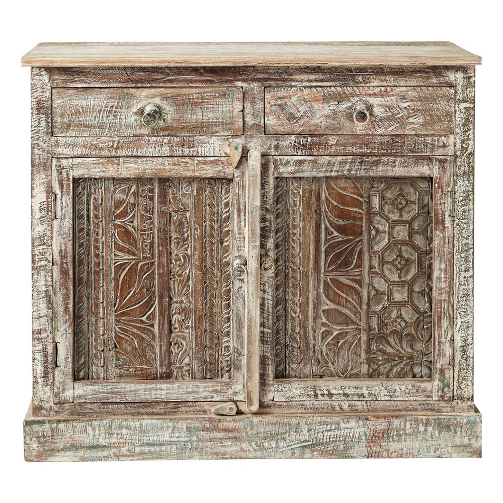 Recycled wood carved indian sideboard w 95cm karma for Sideboard indien
