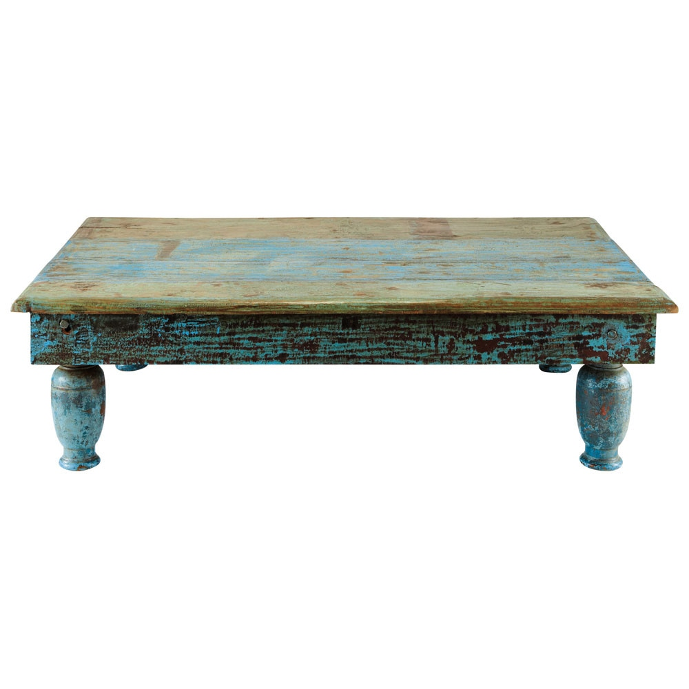 Recycled wood coffee table in blue with distressed finish for Table basse vieilli