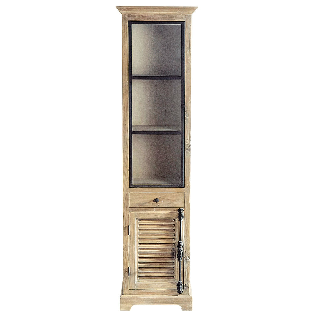 Recycled wood display case w 52cm persiennes maisons du for Armoire newport maison du monde