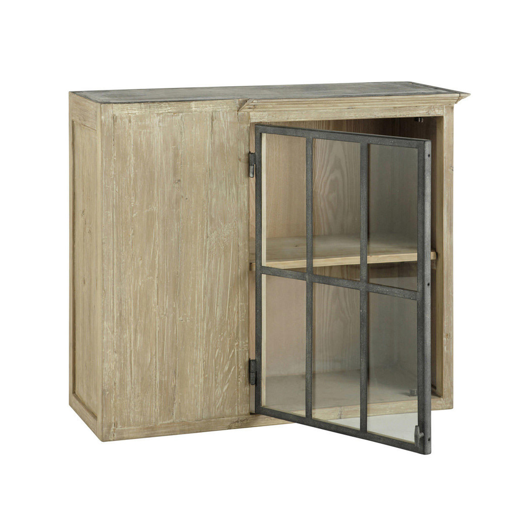 Recycled wood kitchen corner wall unit in grey W 97cm Copenhague ...