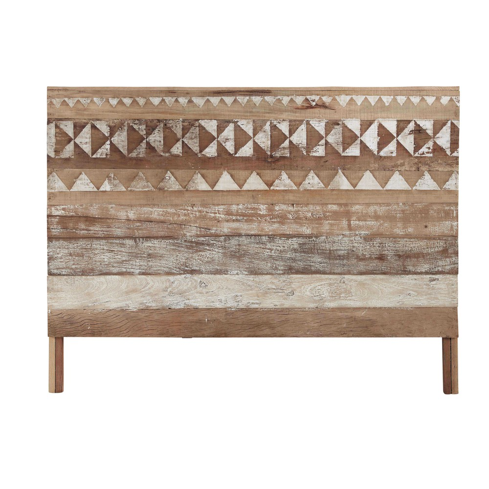 recycled wood patterned headboard w 160cm tikka maisons du monde. Black Bedroom Furniture Sets. Home Design Ideas