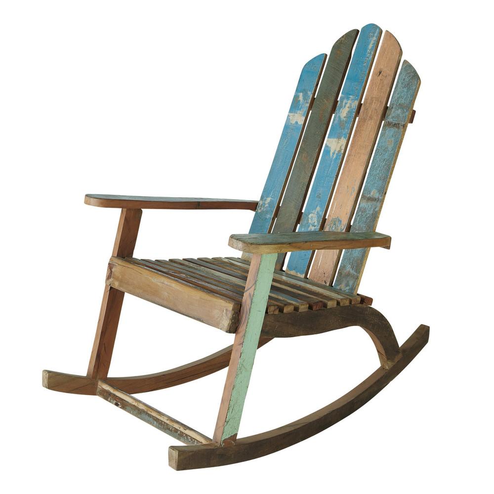 recycled wood rocking chair calanque maisons du monde. Black Bedroom Furniture Sets. Home Design Ideas