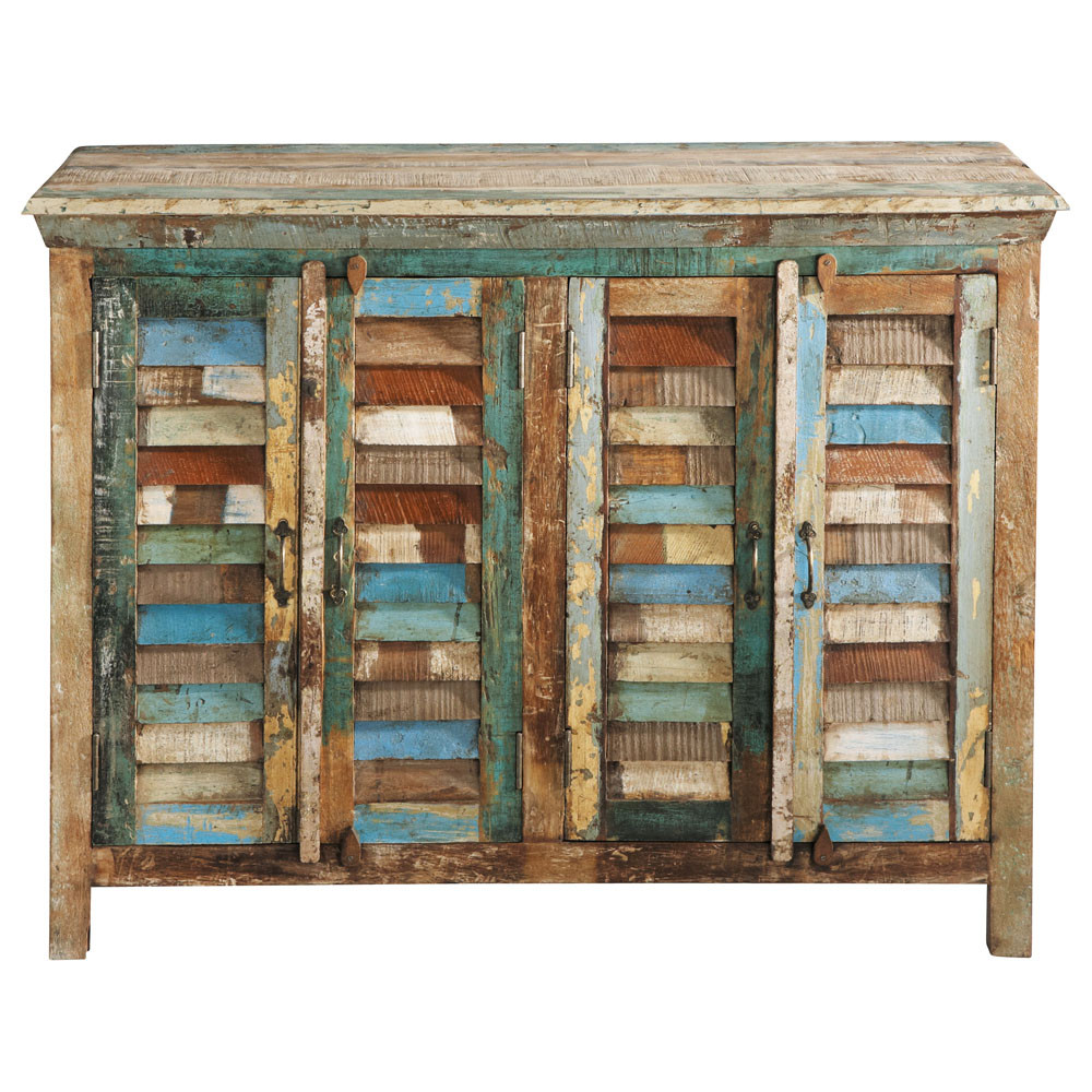 Recycled wood sideboard multicoloured w 120cm calanque for Maison de monde uk