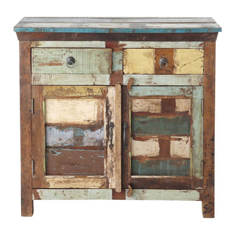 recycled wood sideboard multicoloured w 90cm calanque maisons du monde. Black Bedroom Furniture Sets. Home Design Ideas