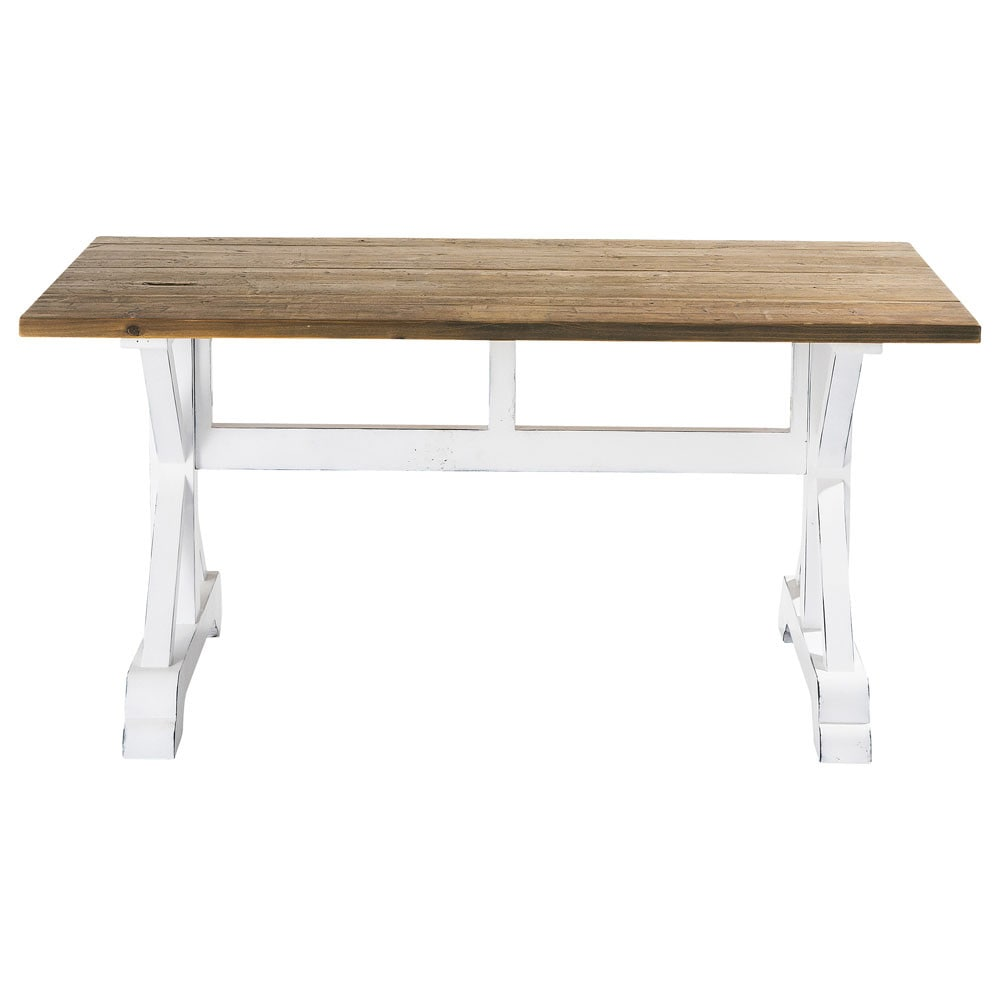 Recycled wood slat dining table w 160cm sologne maisons du monde - Maison du monde table ...