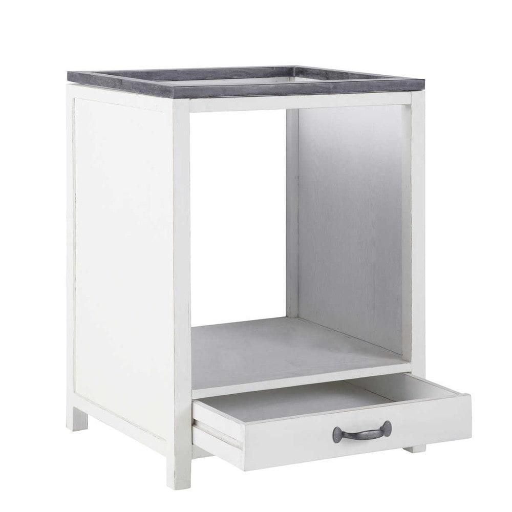 Recycled wood under oven kitchen base unit in white w 64cm - Meuble four encastrable et plaque cuisson ...