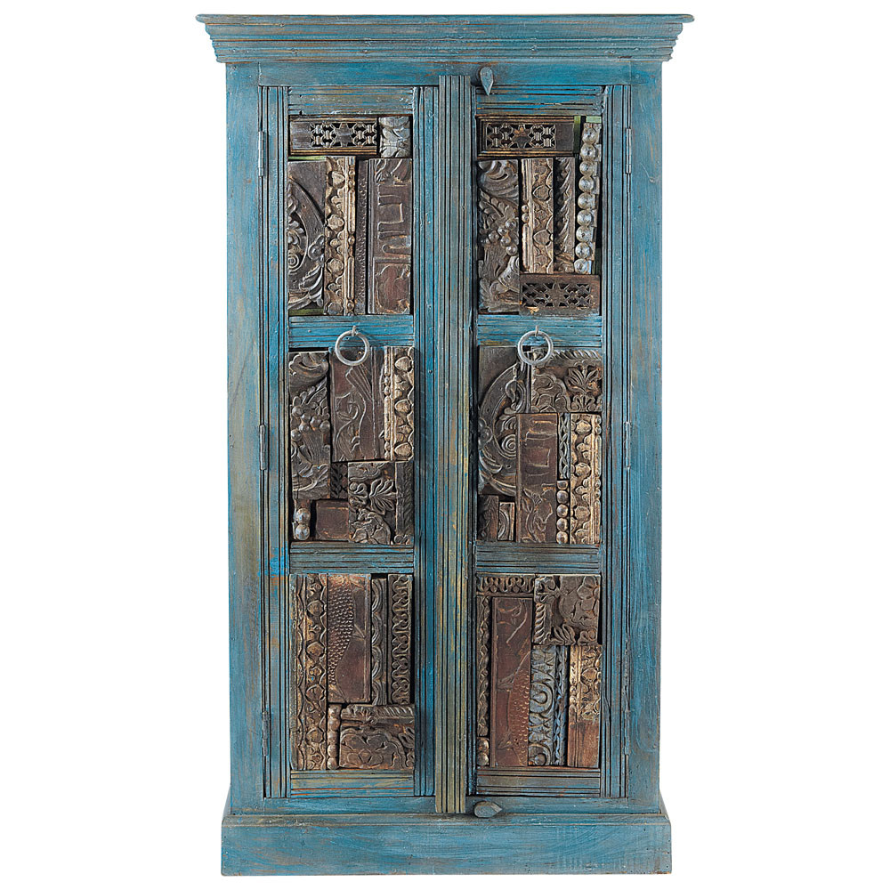 recycled wood wardrobe in blue with distressed finish w 84cm jodhpur maisons du monde. Black Bedroom Furniture Sets. Home Design Ideas