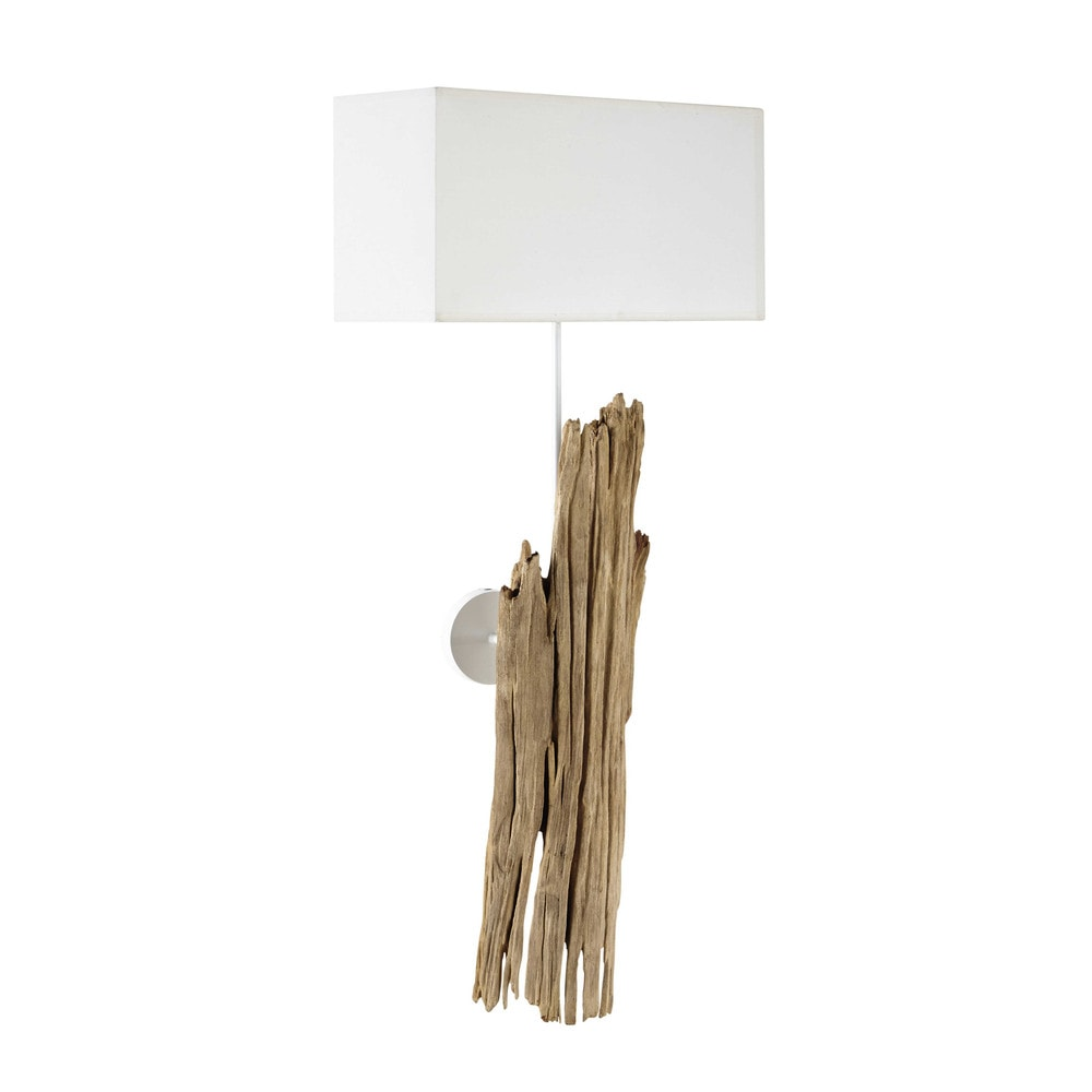 REFUGE wood and cotton wall light in white H 93cm Maisons du Monde