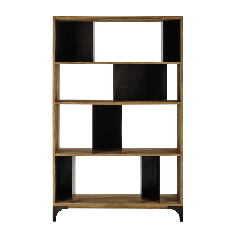 regal aus massivem mangoholz und metall b 125 cm. Black Bedroom Furniture Sets. Home Design Ideas