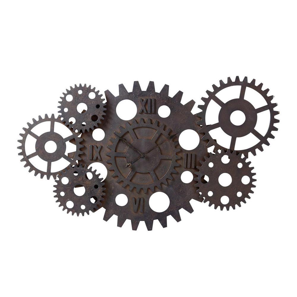 reloj industrial con engranajes de madera efecto xido di m 125 cm princeton maisons du monde. Black Bedroom Furniture Sets. Home Design Ideas