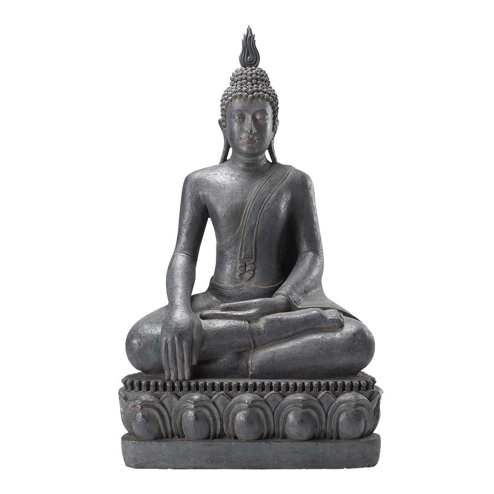 resin sitting buddha statue in grey h 150cm maisons du monde. Black Bedroom Furniture Sets. Home Design Ideas