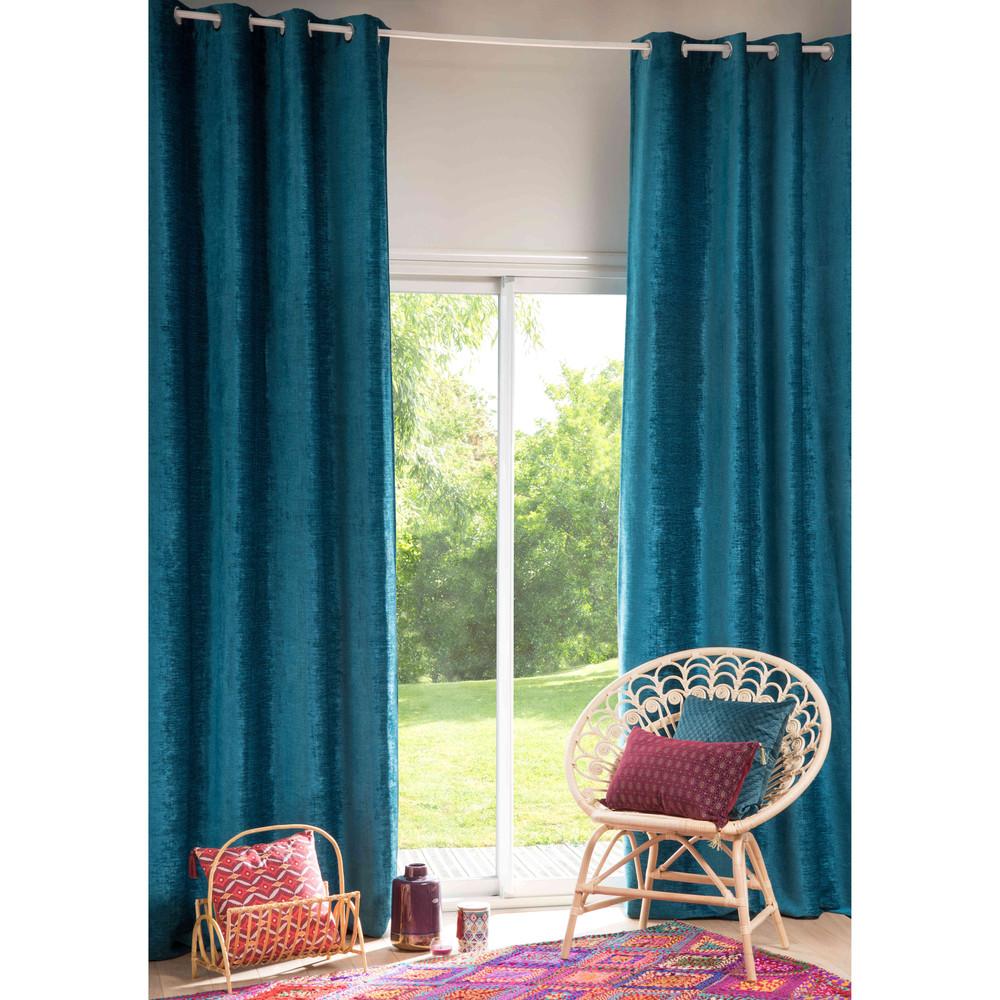 Rideau illets bleu canard 130x300cm vintage velvet maisons du monde for Chambre vintage maison du monde